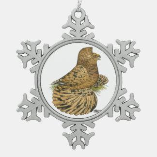 English Trumpeter Almond Snowflake Pewter Christmas Ornament