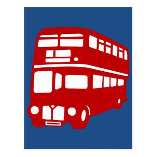 English two-floor bus postcard