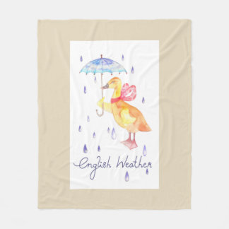 """English Weather"" Fleece Blanket Medium Beige"