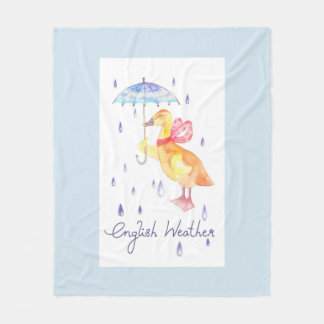 """English Weather"" Fleece Blanket Medium light blue"