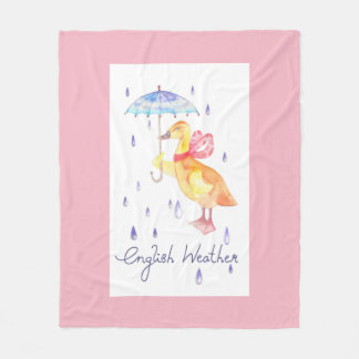 """English Weather"" Fleece Blanket Medium Pink"