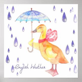 """English Weather"" Nursery Art Poster 14""x14"""