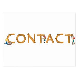 english word contact postcard
