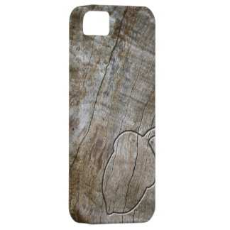 Engraved effect acorn on wood iPhone 5 covers