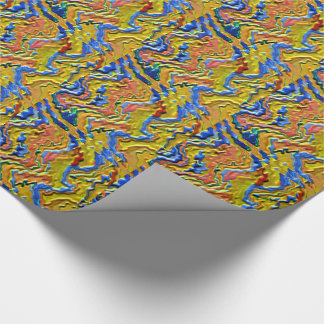 ENGRAVED GOLDEN BLUE WAVES  CELEBRATIONS SENSUAL WRAPPING PAPER