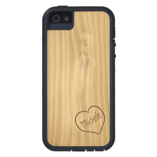 Engraved Heart and Initials on Wood Grain texture iPhone 5 Cases