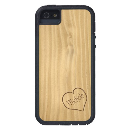 Engraved Heart and Initials on Wood Grain texture iPhone 5 Cover