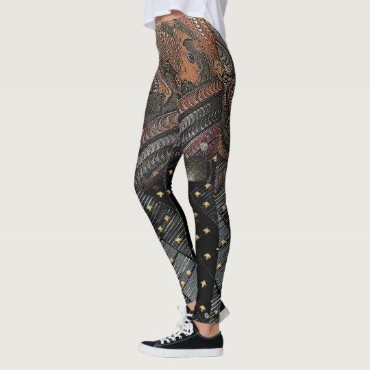 Engraved Imperial Samurai Leather Leggings