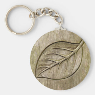 Engraved leaf basic round button keychain