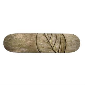 Engraved leaf skateboard decks