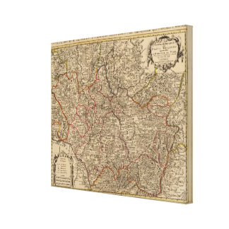 Engraved map of France Canvas Print