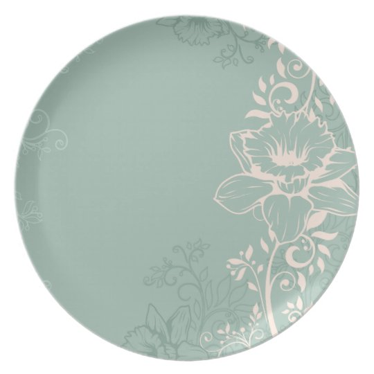 Engraved Swirly Daffodils Plate