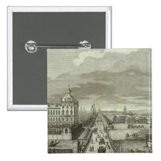 Engraved View of Saint Petersburg 2 Inch Square Button