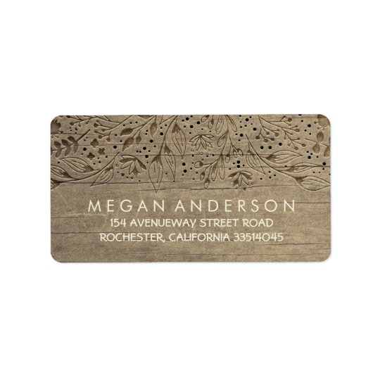 Engraved Wood Flowers Rustic Wedding Label