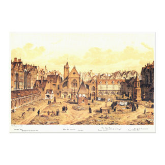 Engraving of Saints Innocents Cemetery in Paris Canvas Print