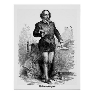 Engraving of William Shakespeare Poster