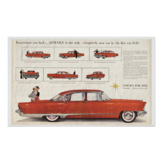 Enhanced 1956 Lincoln Premiere 4 Door Centerfold A Poster
