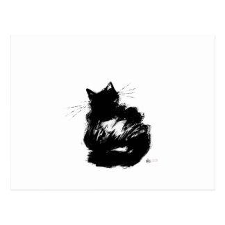 Enigmatic Black Cat Postcard