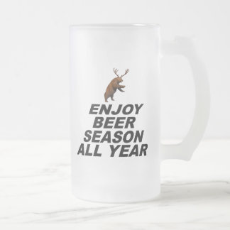Enjoy Beer Season All Year Frosted Glass Beer Mug