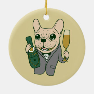 Enjoy Champagne with Frenchie at Your Celebration Ceramic Ornament