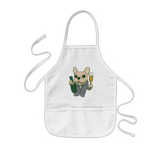 Enjoy Champagne with Frenchie at Your Celebration Kids Apron