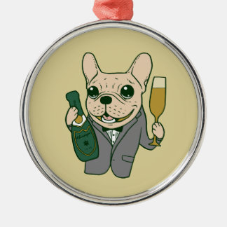 Enjoy Champagne with Frenchie at Your Celebration Metal Ornament