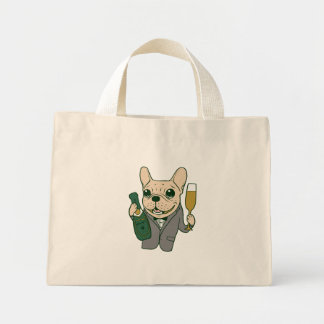 Enjoy Champagne with Frenchie at Your Celebration Mini Tote Bag