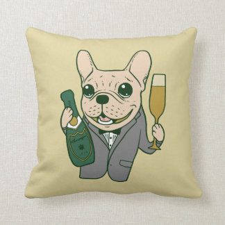 Enjoy Champagne with Frenchie at Your Celebration Throw Pillow