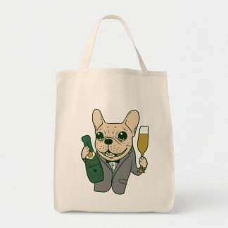 Enjoy Champagne with Frenchie at Your Celebration Tote Bag
