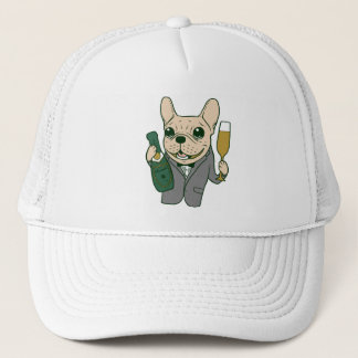 Enjoy Champagne with Frenchie at Your Celebration Trucker Hat