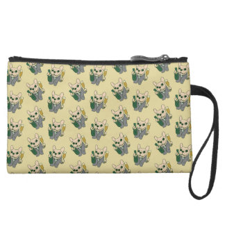 Enjoy Champagne with Frenchie at Your Celebration Wristlet Purse