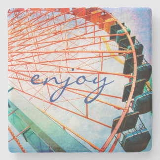 """Enjoy"" colorful ferris wheel photo stone coaster"