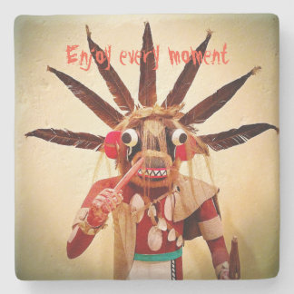 """Enjoy every moment"" cute face photo stone coaster"