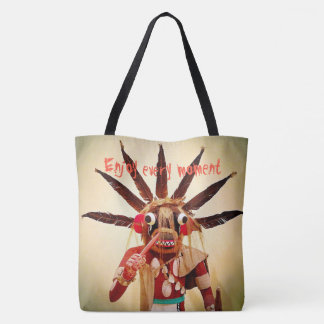 """Enjoy every moment"" fun, cute face photo tote bag"