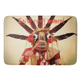 """""""Enjoy Every Moment"""" Quote Funny Cute Face Photo Bath Mat"""