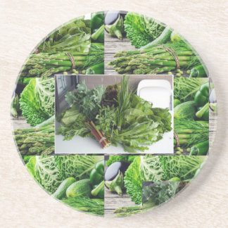 ENJOY LEAFY GREEN VEGETABLES HEALTHY CHOICES BEVERAGE COASTERS