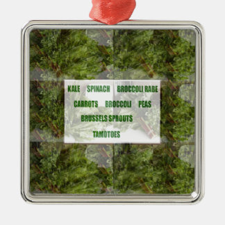 ENJOY LEAFY GREEN VEGETABLES HEALTHY CHOICES Silver-Colored SQUARE ORNAMENT