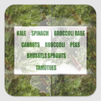 ENJOY LEAFY GREEN VEGETABLES HEALTHY CHOICES SQUARE STICKER