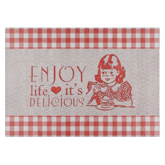 Enjoy Life It's Delicious Red Retro Gingham Cutting Boards