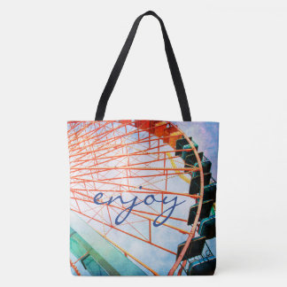 """Enjoy"" quote colorful ferris wheel photo tote bag"