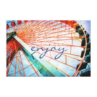 """Enjoy"" Quote Giant Carnival Ferris Wheel Photo Canvas Print"
