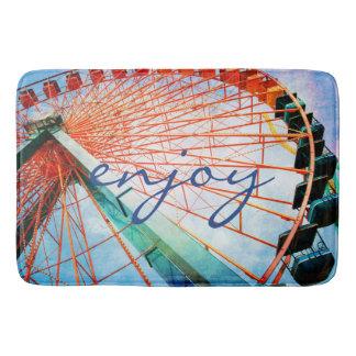 """Enjoy"" Quote Huge Fun Carnival Ferris Wheel Photo Bath Mat"