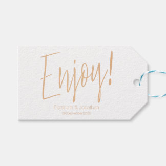 """Enjoy"" Rose Gold Calligraphy Wedding Favor Tag"