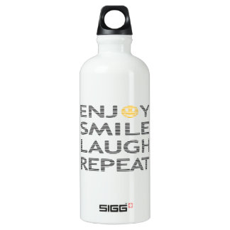 Enjoy smile laugh repeat - black and orange. water bottle
