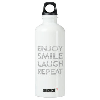 Enjoy smile laugh repeat - gray. water bottle