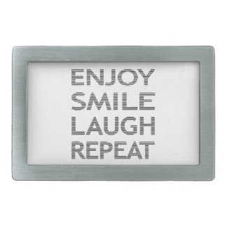 ENJOY SMILE LAUGH REPEAT - strips-black and white. Belt Buckle