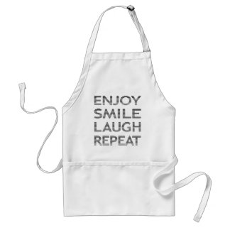 ENJOY SMILE LAUGH REPEAT - strips-black and white. Standard Apron