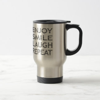 ENJOY SMILE LAUGH REPEAT - strips-black and white. Travel Mug