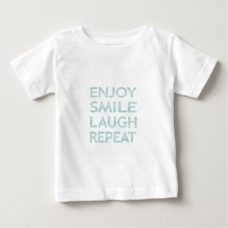 ENJOY SMILE LAUGH REPEAT - strips - blue and white Baby T-Shirt