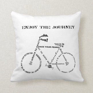 Enjoy the Journey, Adventure Words Bicycle Throw Pillow